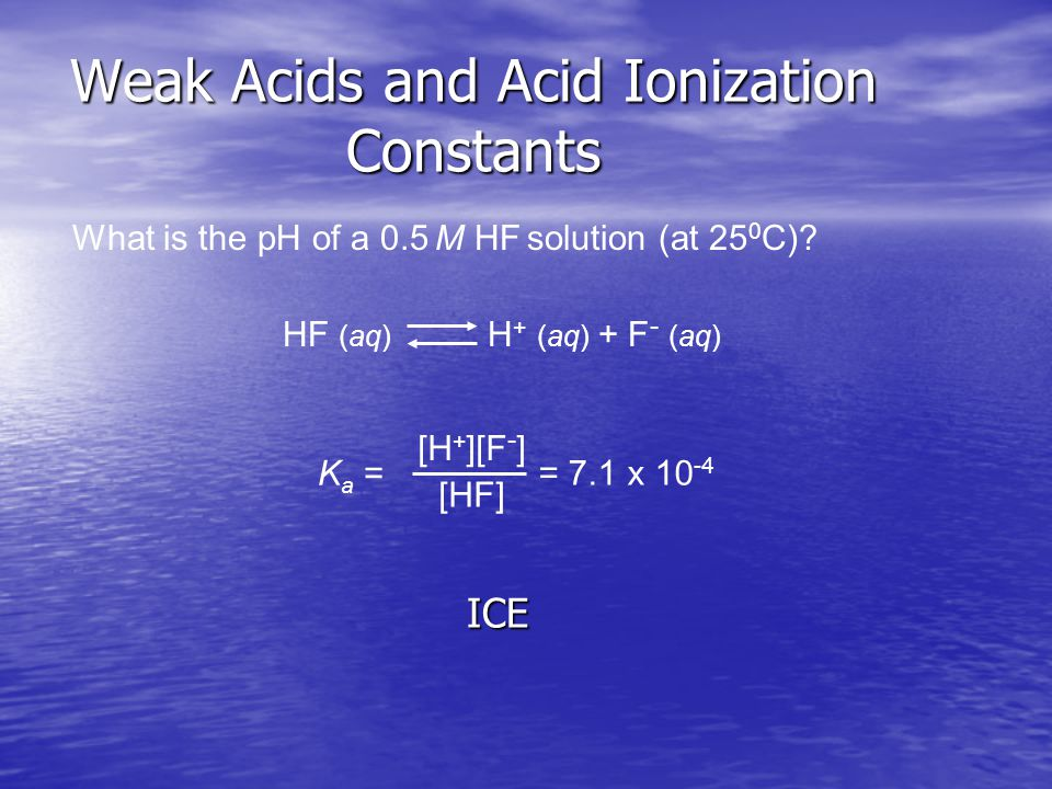 Weak Acids and Acid Ionization Constants What is the pH of a 0.5 M HF solution (at 25 0 C).