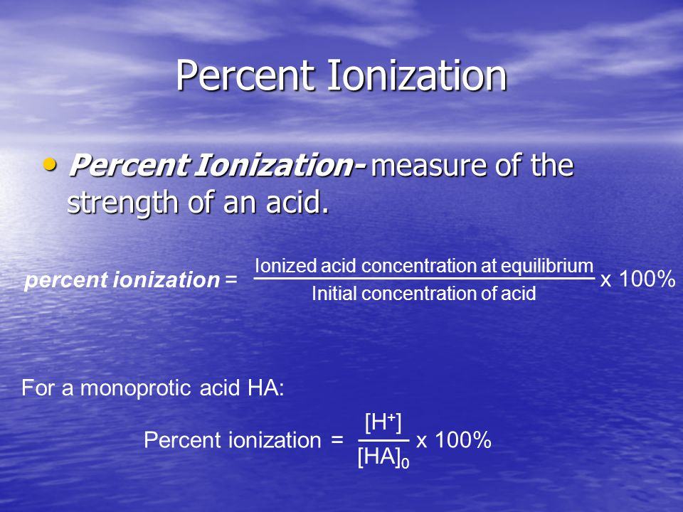 Percent Ionization Percent Ionization- measure of the strength of an acid.