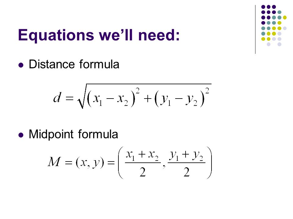 CIRCLES Unit 32 Equations well need Distance formula Midpoint – Distance Formula Worksheet