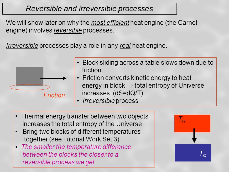 Reversible and irreversible processes We will show later on why the most efficient heat engine (the Carnot engine) involves reversible processes.