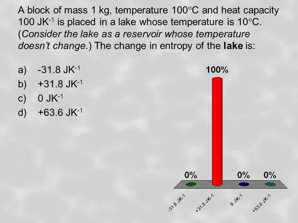 A block of mass 1 kg, temperature 100°C and heat capacity 100 JK -1 is placed in a lake whose temperature is 10°C.