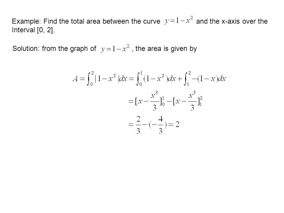 Example: Find the total area between the curve and the x-axis over the Interval [0, 2].