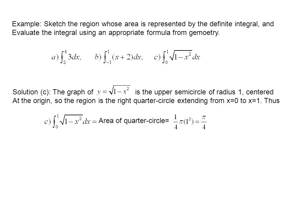 Example: Sketch the region whose area is represented by the definite integral, and Evaluate the integral using an appropriate formula from gemoetry.