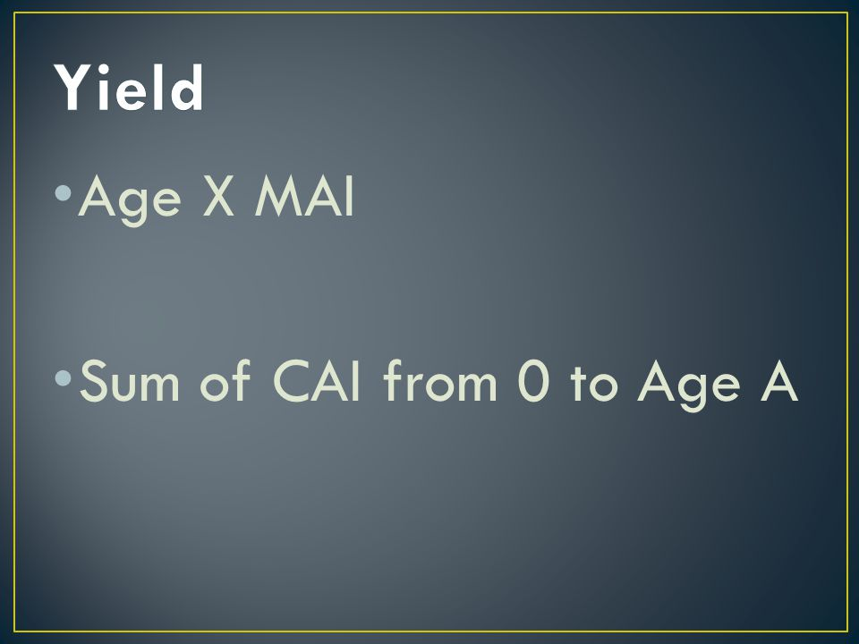 Age X MAI Sum of CAI from 0 to Age A