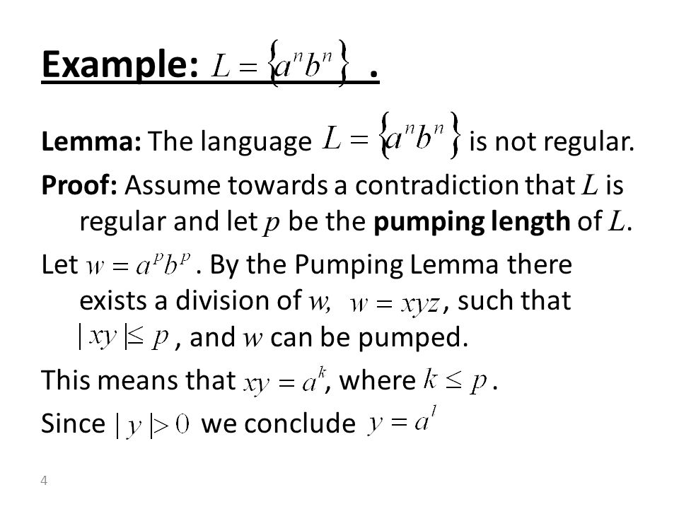 Lemma: The language is not regular.