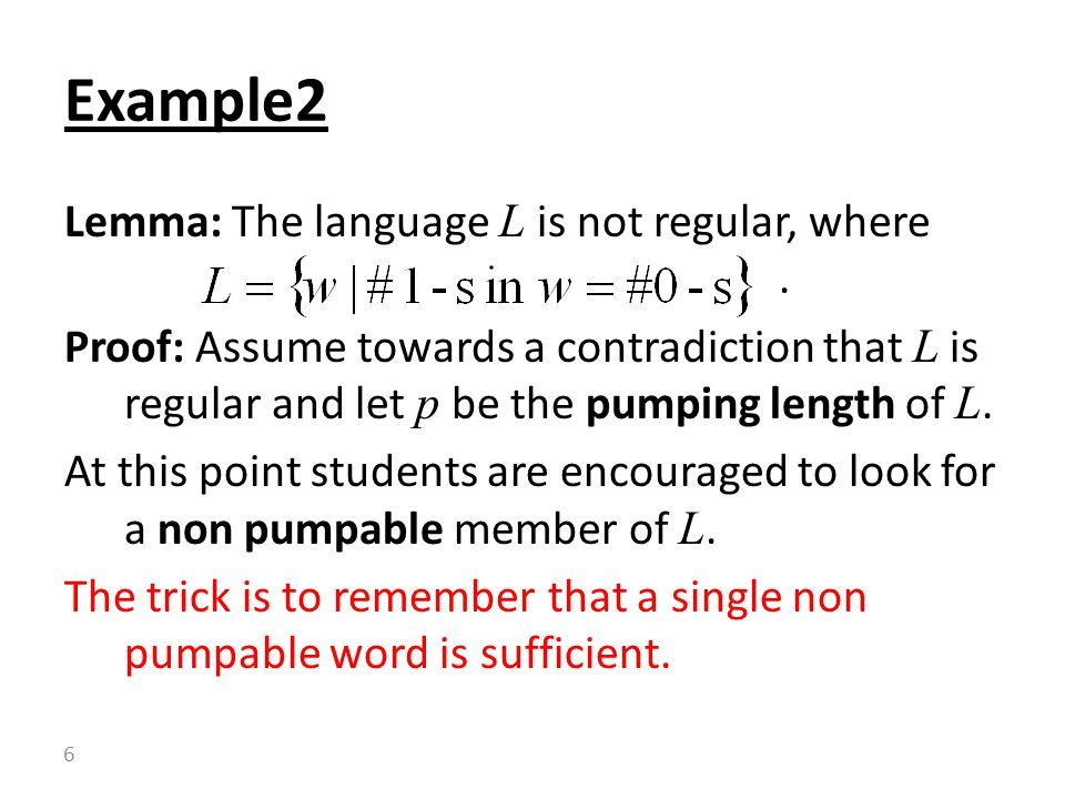 Lemma: The language L is not regular, where.