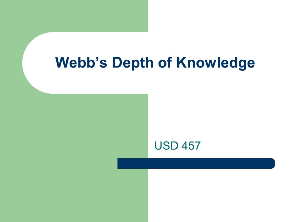 Webb's Depth of Knowledge USD 457