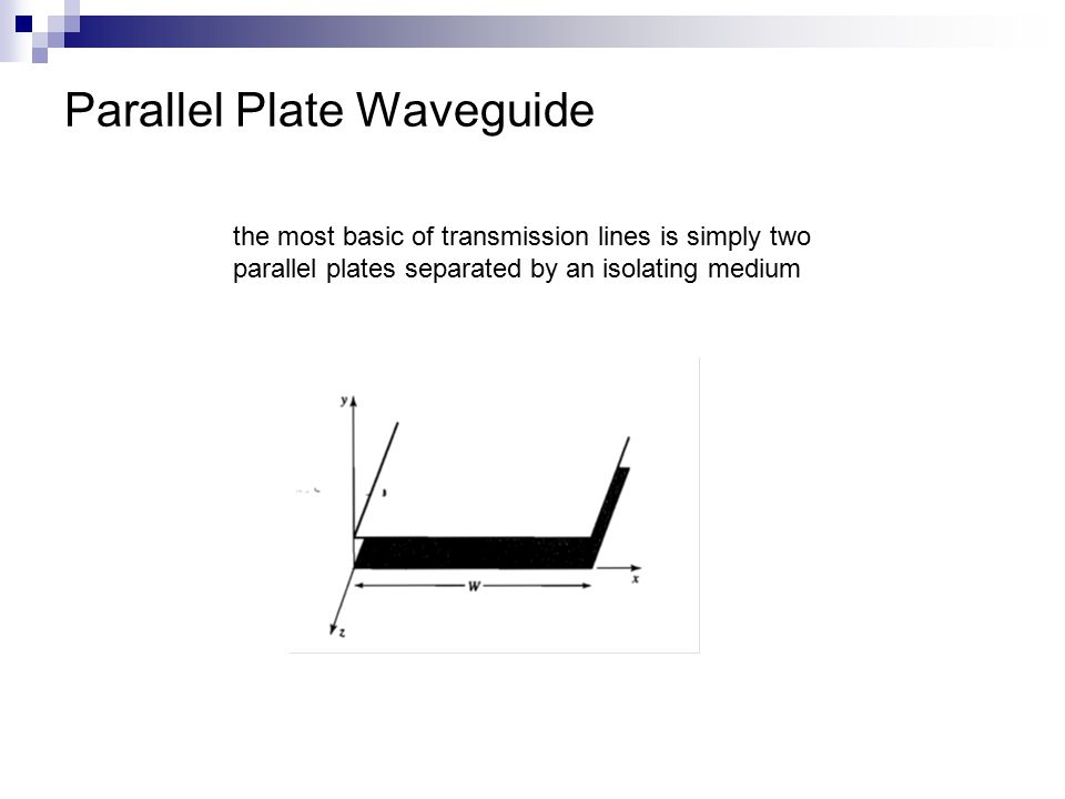 Parallel Plate Waveguide the most basic of transmission lines is simply two parallel plates separated by an isolating medium