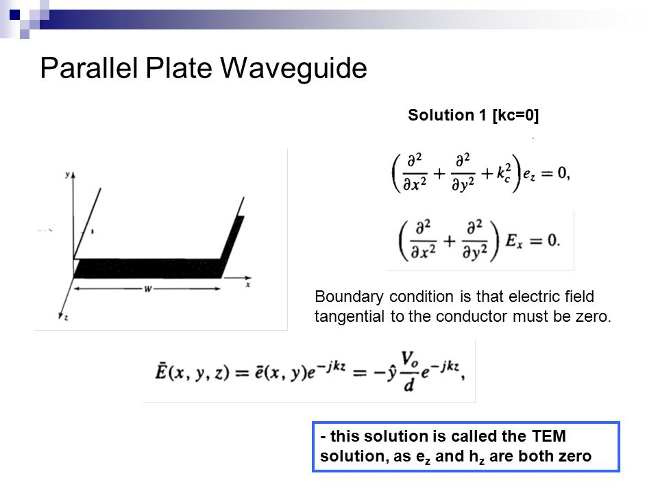 Parallel Plate Waveguide Solution 1 [kc=0] Boundary condition is that electric field tangential to the conductor must be zero.