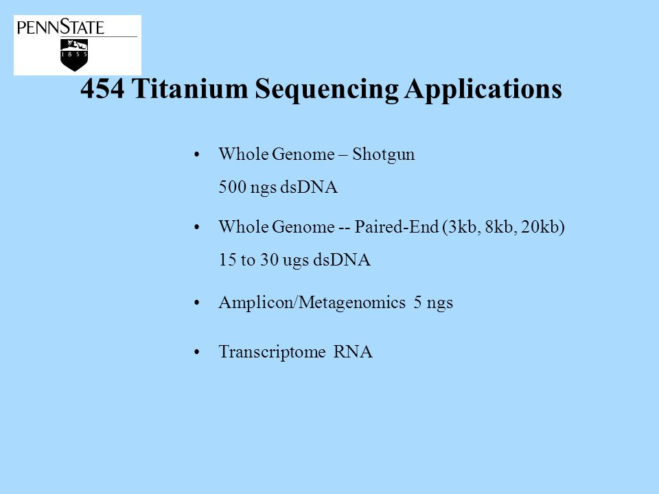 454 Titanium Sequencing Applications Transcriptome RNA Whole Genome -- Paired-End (3kb, 8kb, 20kb) 15 to 30 ugs dsDNA Whole Genome – Shotgun 500 ngs dsDNA Amplicon/Metagenomics 5 ngs