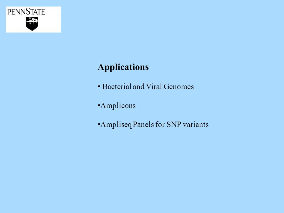 Applications Bacterial and Viral Genomes Amplicons Ampliseq Panels for SNP variants
