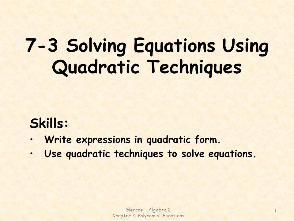 Glencoe algebra 2 worksheet answers chapter 7