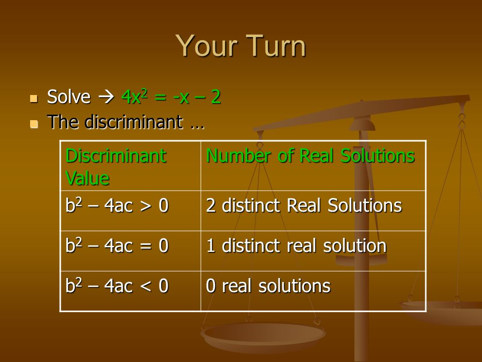 Your Turn Solve  4x 2 = -x – 2 Solve  4x 2 = -x – 2 The discriminant … The discriminant … Discriminant Value Number of Real Solutions b 2 – 4ac > 0 2 distinct Real Solutions b 2 – 4ac = 0 1 distinct real solution b 2 – 4ac < 0 0 real solutions