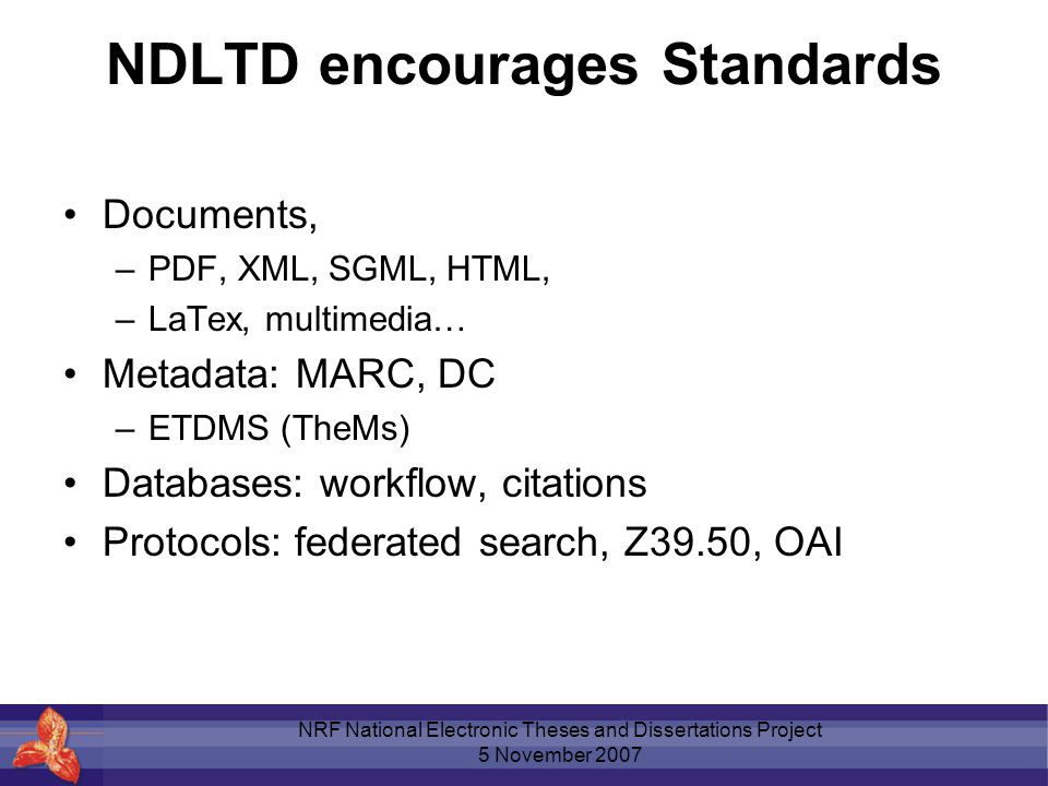 metadata thesis The ndltd may not have the status of an international standard metadata schema for online theses and dissertations, but it certainly has established a lead throughout the us, canada, uk, france and germany at least.