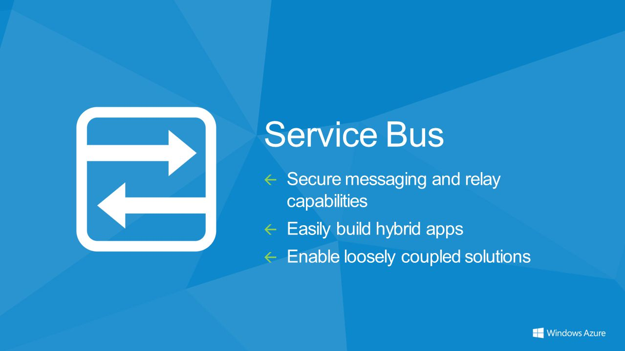Service Bus  Secure messaging and relay capabilities  Easily build hybrid apps  Enable loosely coupled solutions