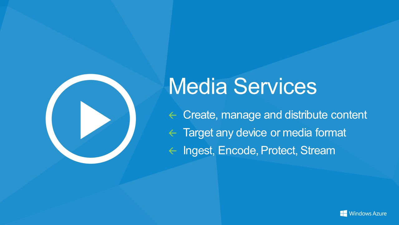 Media Services  Create, manage and distribute content  Target any device or media format  Ingest, Encode, Protect, Stream