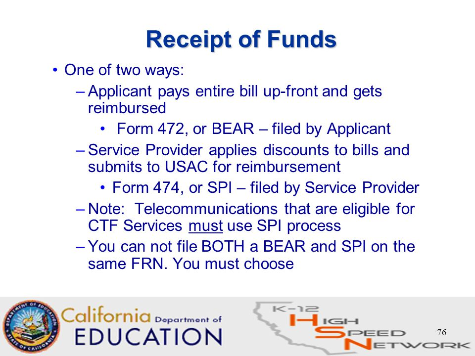 "75 8. Invoicing - ""Getting the Money"" Form 472 – BEAR Form 474 ..."