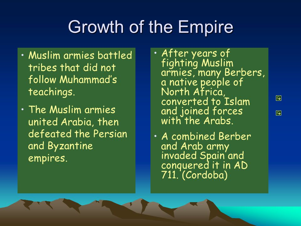 Growth of the Empire Muslim armies battled tribes that did not follow Muhammad's teachings.
