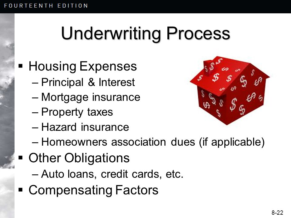 8-22 Underwriting Process  Housing Expenses –Principal & Interest –Mortgage insurance –Property taxes –Hazard insurance –Homeowners association dues (if applicable)  Other Obligations –Auto loans, credit cards, etc.