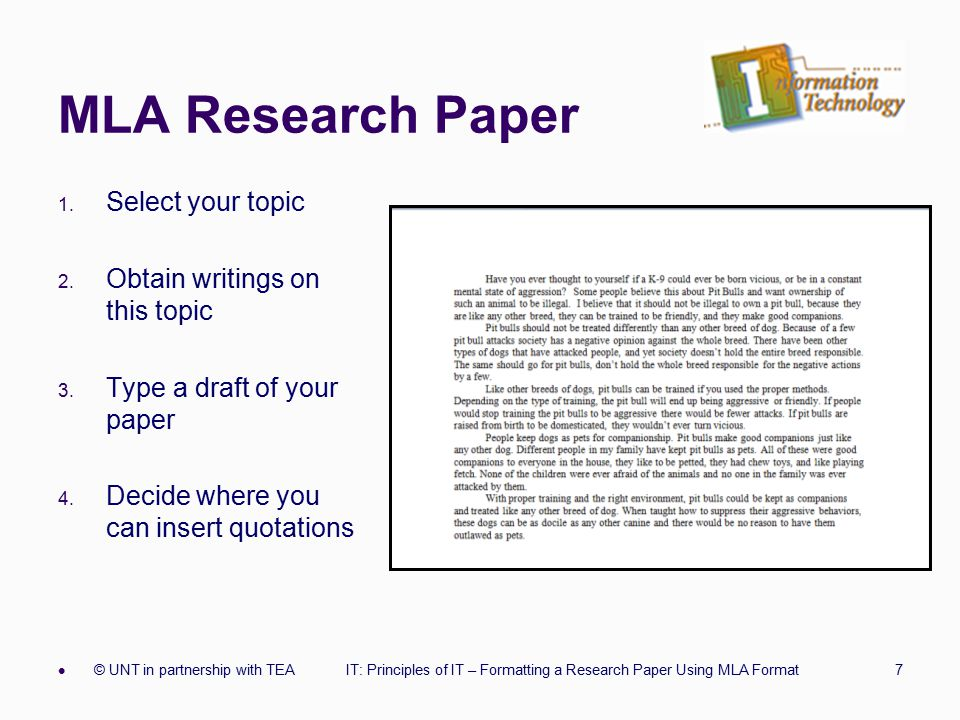 outline for a research paper in mla format