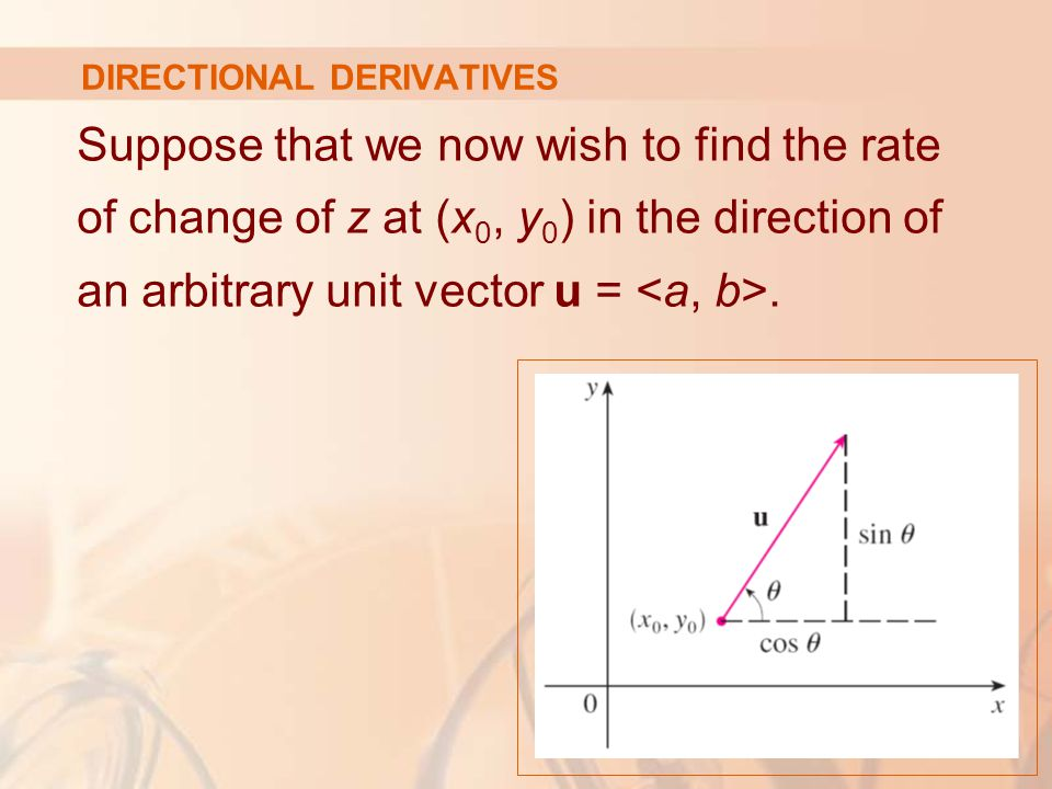 DIRECTIONAL DERIVATIVES Suppose that we now wish to find the rate of change of z at (x 0, y 0 ) in the direction of an arbitrary unit vector u =.