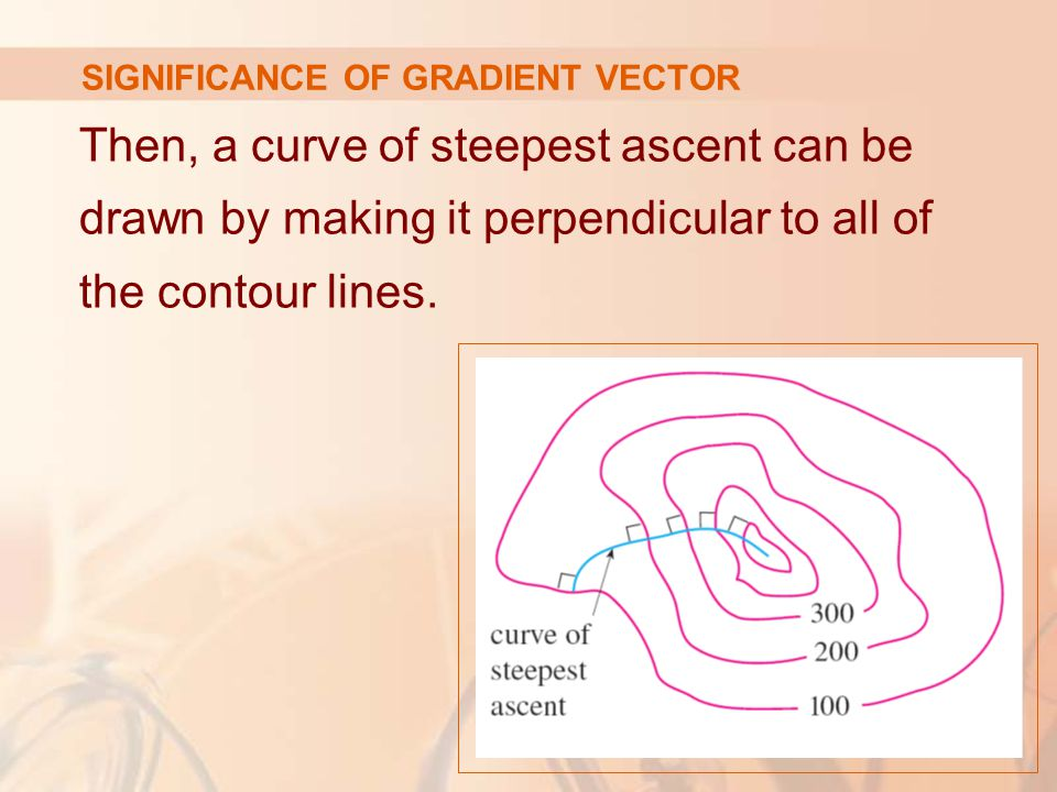 Then, a curve of steepest ascent can be drawn by making it perpendicular to all of the contour lines.
