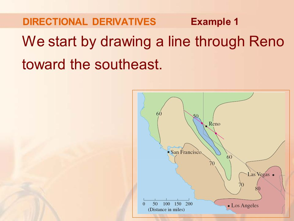 DIRECTIONAL DERIVATIVES We start by drawing a line through Reno toward the southeast. Example 1