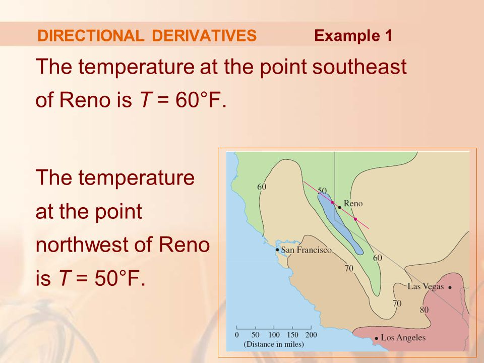 DIRECTIONAL DERIVATIVES The temperature at the point southeast of Reno is T = 60°F.