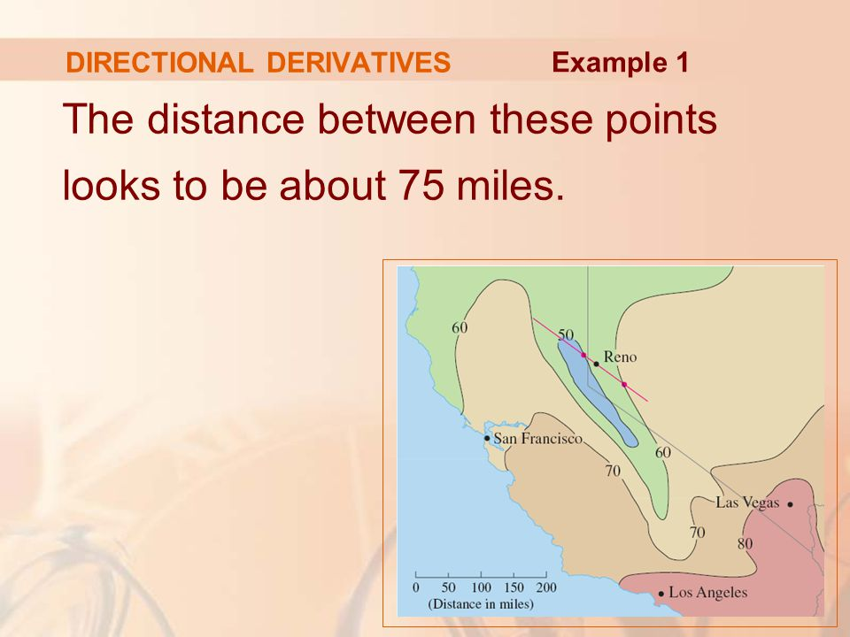 DIRECTIONAL DERIVATIVES The distance between these points looks to be about 75 miles. Example 1