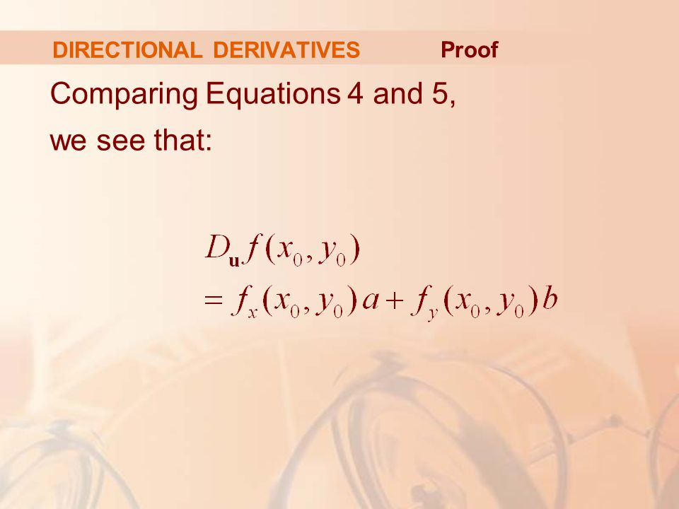 DIRECTIONAL DERIVATIVES Comparing Equations 4 and 5, we see that: Proof