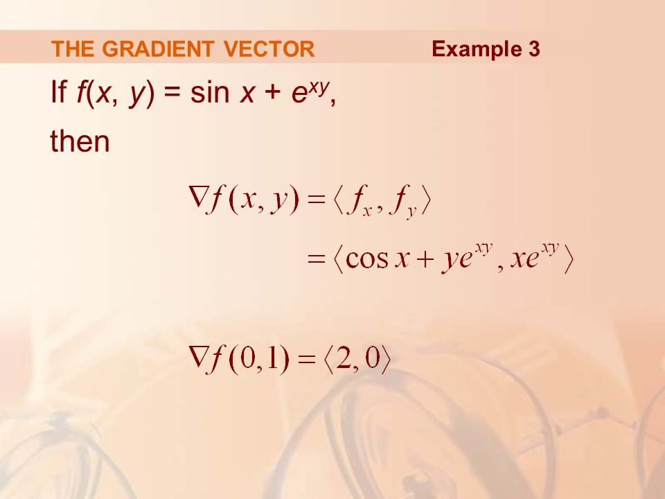 THE GRADIENT VECTOR If f(x, y) = sin x + e xy, then Example 3