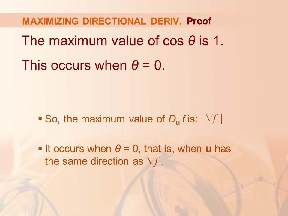 The maximum value of cos θ is 1. This occurs when θ = 0.