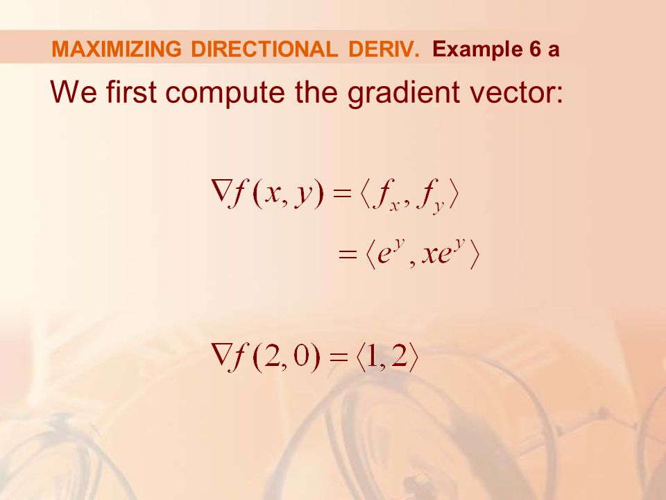 We first compute the gradient vector: MAXIMIZING DIRECTIONAL DERIV. Example 6 a