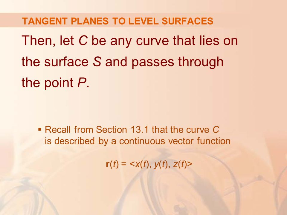 Then, let C be any curve that lies on the surface S and passes through the point P.