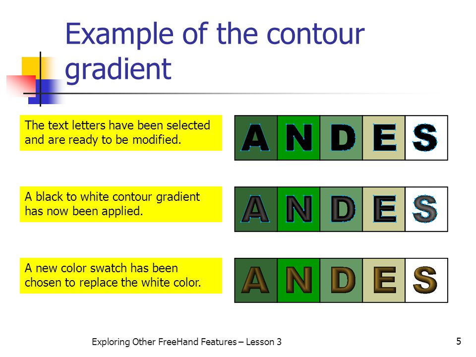 5 Exploring Other FreeHand Features – Lesson 3 Example of the contour gradient The text letters have been selected and are ready to be modified.