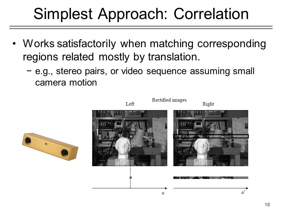 Simplest Approach: Correlation Works satisfactorily when matching corresponding regions related mostly by translation.
