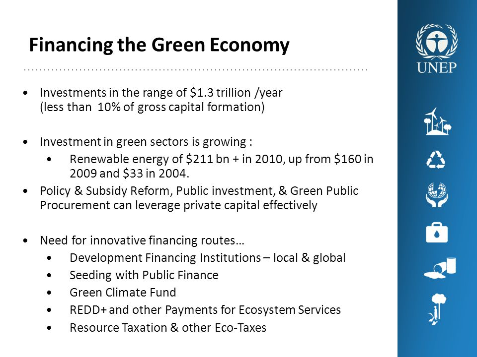 Financing the Green Economy Investments in the range of $1.3 trillion /year (less than 10% of gross capital formation) Investment in green sectors is growing : Renewable energy of $211 bn + in 2010, up from $160 in 2009 and $33 in 2004.
