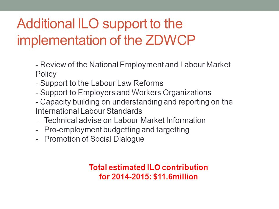 Additional ILO support to the implementation of the ZDWCP Total estimated ILO contribution for : $11.6million - Review of the National Employment and Labour Market Policy - Support to the Labour Law Reforms - Support to Employers and Workers Organizations - Capacity building on understanding and reporting on the International Labour Standards -Technical advise on Labour Market Information -Pro-employment budgetting and targetting -Promotion of Social Dialogue