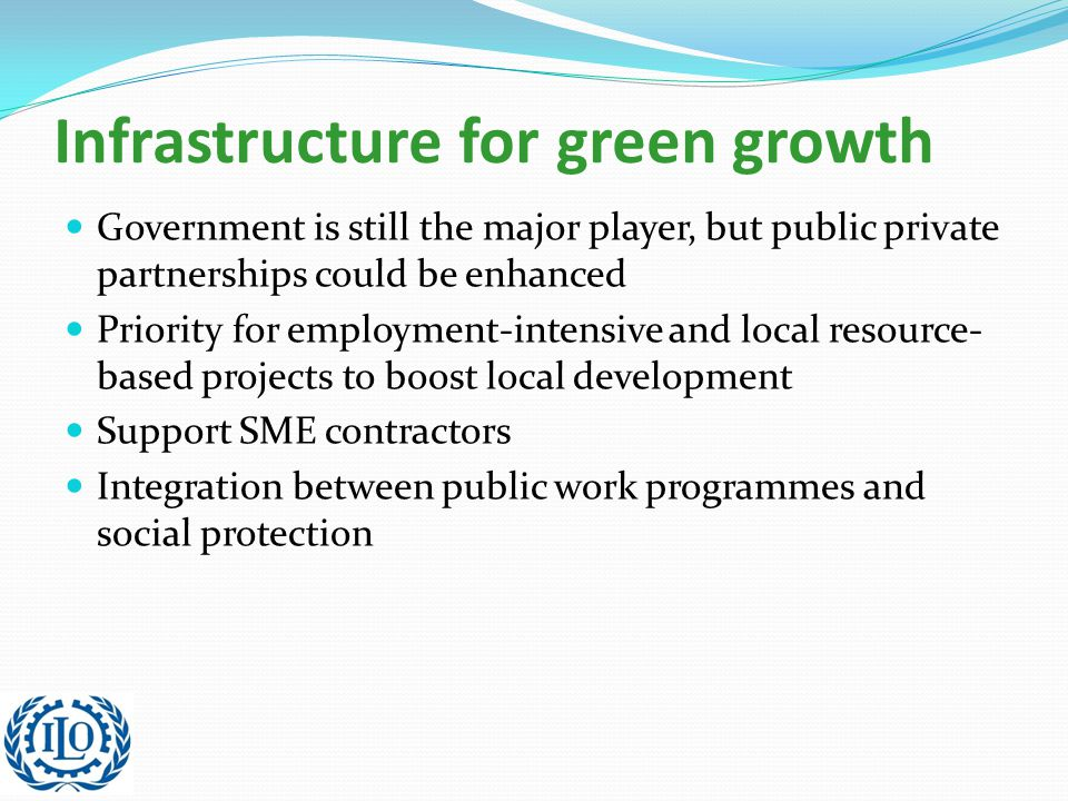 Infrastructure for green growth Government is still the major player, but public private partnerships could be enhanced Priority for employment-intensive and local resource- based projects to boost local development Support SME contractors Integration between public work programmes and social protection