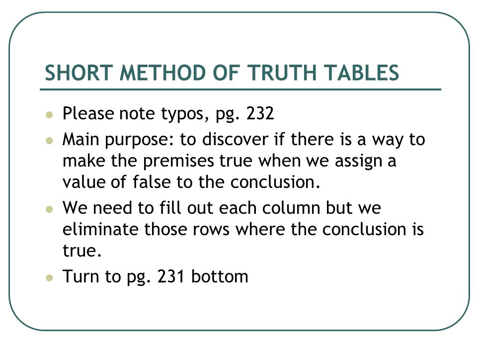 SHORT METHOD OF TRUTH TABLES Please note typos, pg.