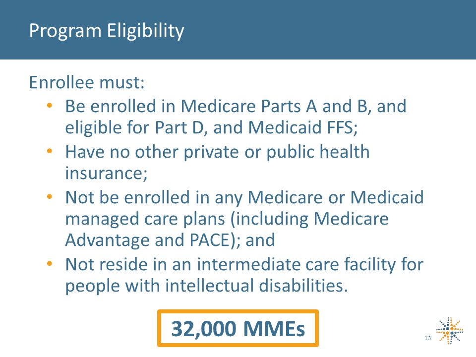 Enrollee must: Be enrolled in Medicare Parts A and B, and eligible for Part D, and Medicaid FFS; Have no other private or public health insurance; Not be enrolled in any Medicare or Medicaid managed care plans (including Medicare Advantage and PACE); and Not reside in an intermediate care facility for people with intellectual disabilities.