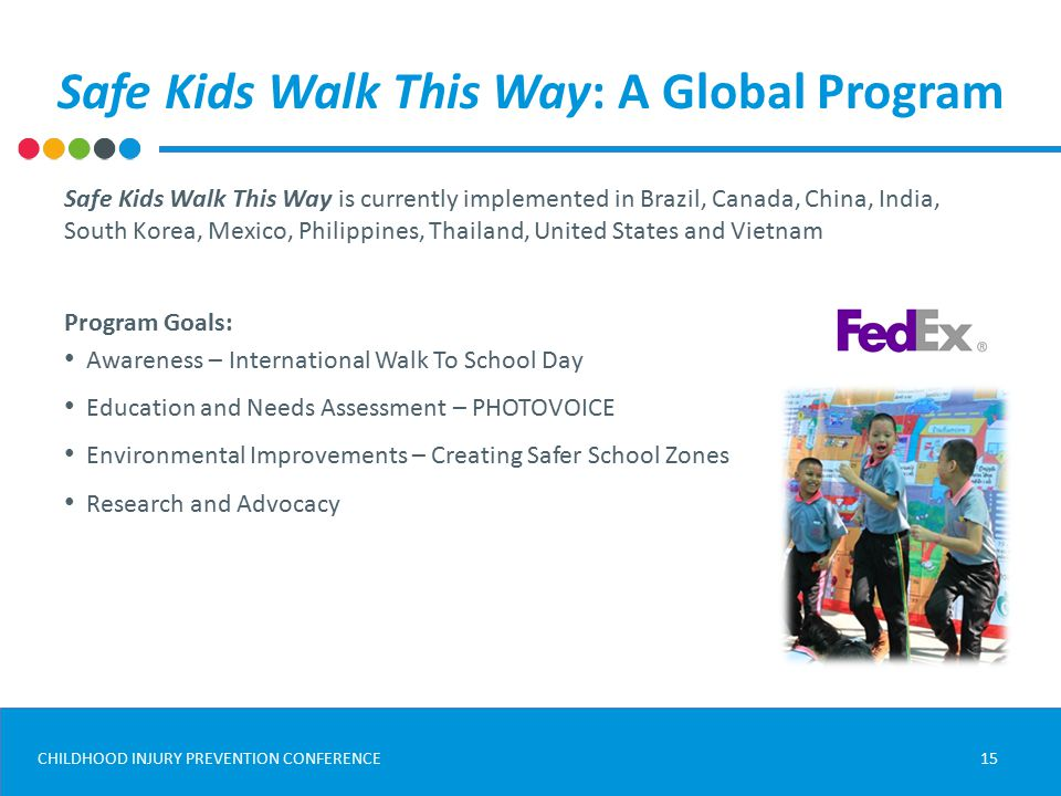 CHILDHOOD INJURY PREVENTION CONFERENCE Safe Kids Walk This Way: A Global Program 15 Safe Kids Walk This Way is currently implemented in Brazil, Canada, China, India, South Korea, Mexico, Philippines, Thailand, United States and Vietnam Program Goals: Awareness – International Walk To School Day Education and Needs Assessment – PHOTOVOICE Environmental Improvements – Creating Safer School Zones Research and Advocacy