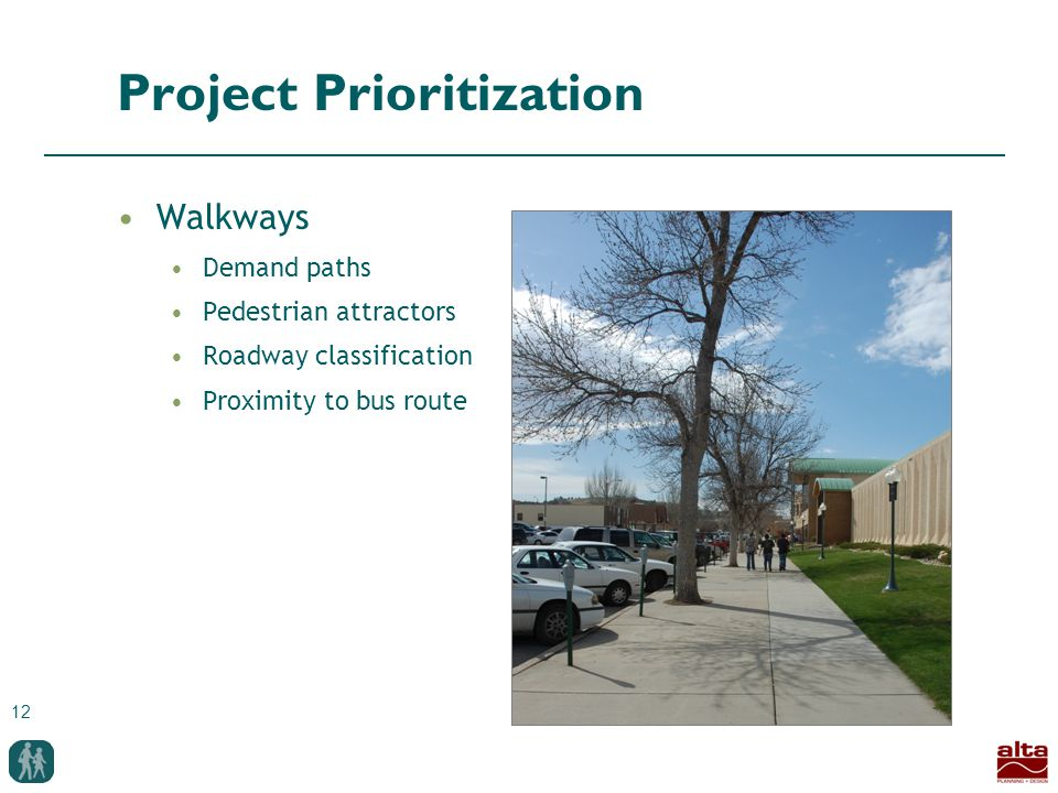 12 Project Prioritization Walkways Demand paths Pedestrian attractors Roadway classification Proximity to bus route