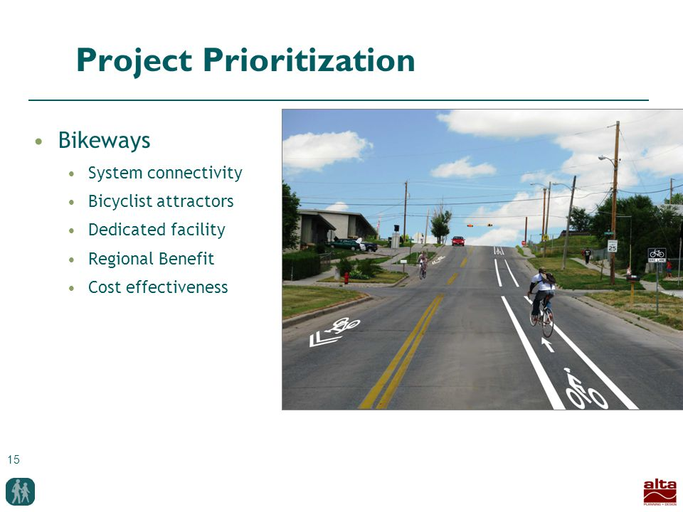 15 Project Prioritization Bikeways System connectivity Bicyclist attractors Dedicated facility Regional Benefit Cost effectiveness