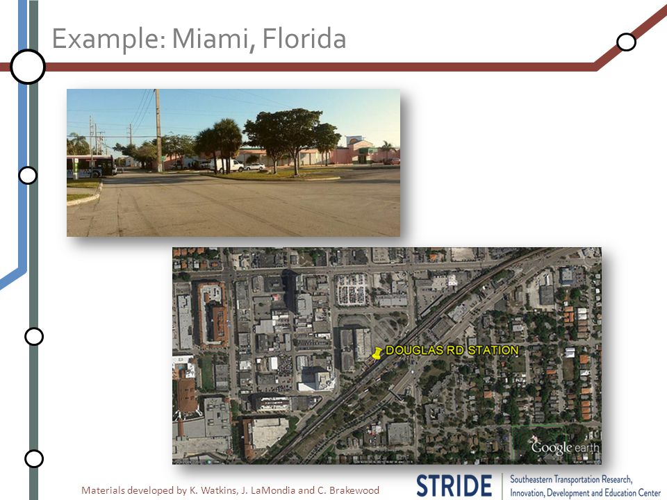 Materials developed by K. Watkins, J. LaMondia and C. Brakewood Example: Miami, Florida
