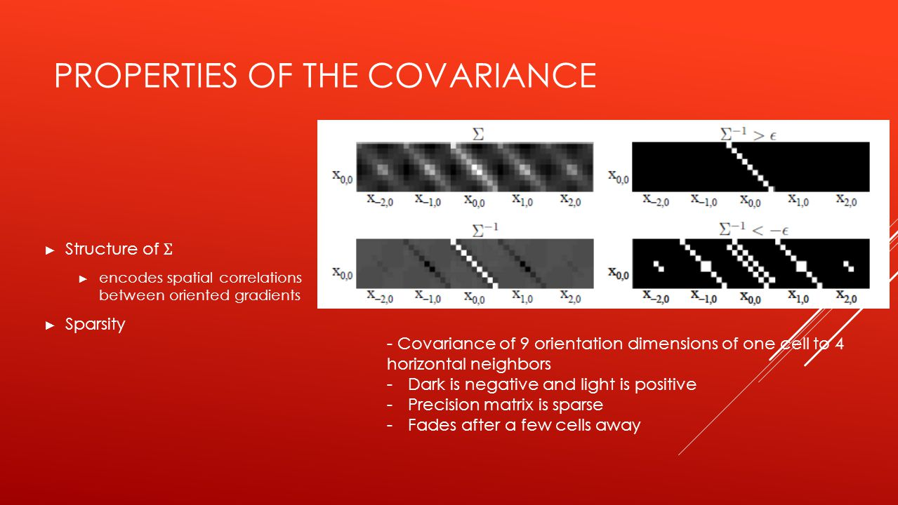 PROPERTIES OF THE COVARIANCE ► Structure of Ʃ ► encodes spatial correlations between oriented gradients ► Sparsity - Covariance of 9 orientation dimensions of one cell to 4 horizontal neighbors -Dark is negative and light is positive -Precision matrix is sparse -Fades after a few cells away
