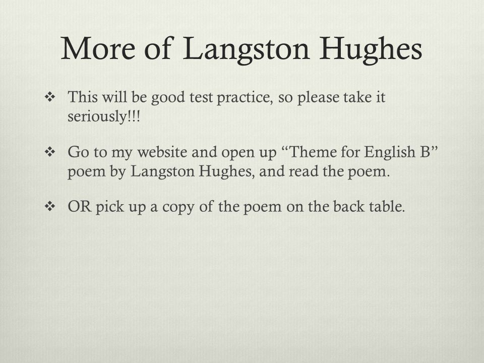 term papers on langston hughes work Already written research papers langston hughes essay help on geometry term papers, harlem by langston hughes this is not an example of the work written by.