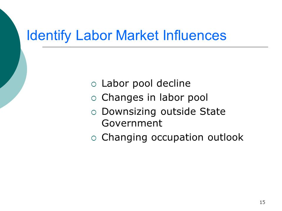15 Identify Labor Market Influences  Labor pool decline  Changes in labor pool  Downsizing outside State Government  Changing occupation outlook