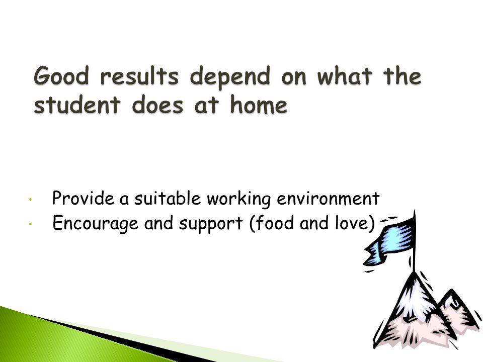 Provide a suitable working environment Encourage and support (food and love)