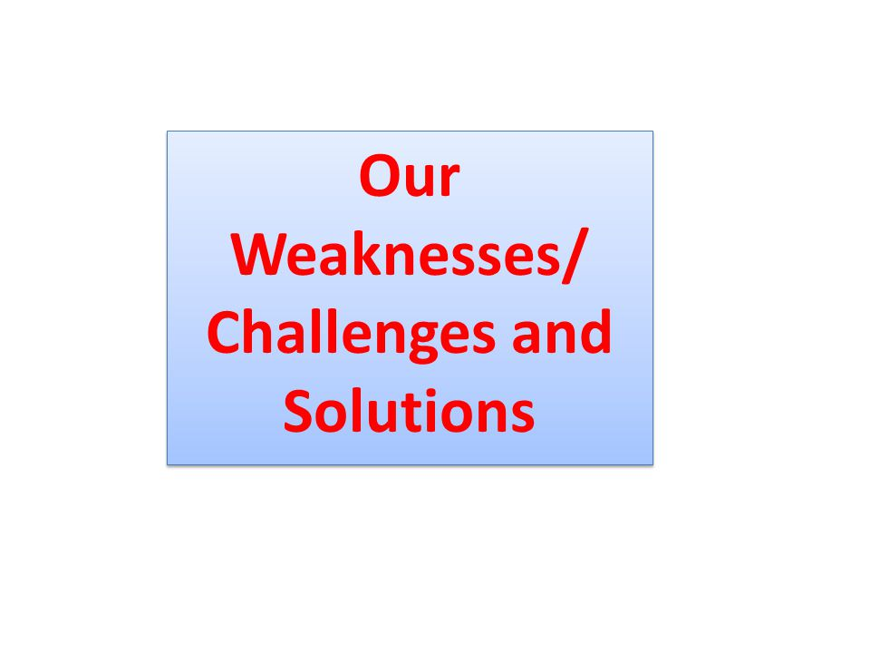 Our Weaknesses/ Challenges and Solutions